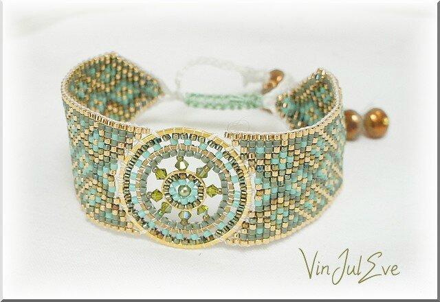 bracelet loom plaque ronde vert or 2