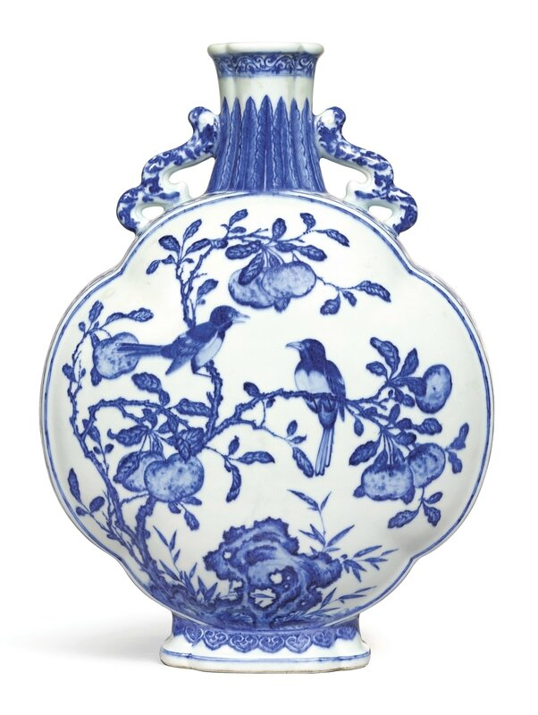 A large and rare blue and white lobed 'Magpie' moonflask, seal mark and period of Yongzheng