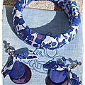 Ensemble Coralie Bracelet Betsy marine et BO duo nacre bleu et mauve