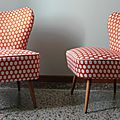 Fauteuils cocktail 50's tissu optimiste orange