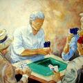 Les joueurs de carte (reproduction a l'huile)