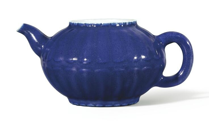 A rare blue-glazed lobed 'Chrysanthemum' teapot, Seal mark and period of Qianlong