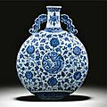 A good blue and white 'dragon' moonflask, qing dynasty, qianlong period (1736-1795)