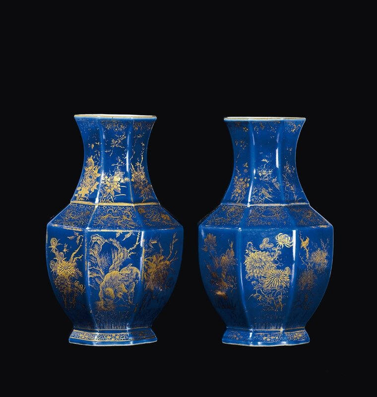 A Pair Of Blue Ground Porcelain Hexagonal Based Vases With