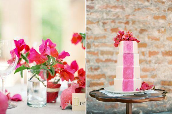 Jose-Villa-Mexico-Workshop-pink-stripe-cake-bouganvillas