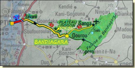 carte Mopti Bandiagara Mali