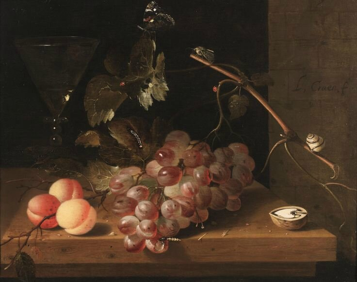 Laurens Craen (The Hague 1620 - Middelburg 1664), A Still-Life of Fruit, a walnut, insects and a Snail