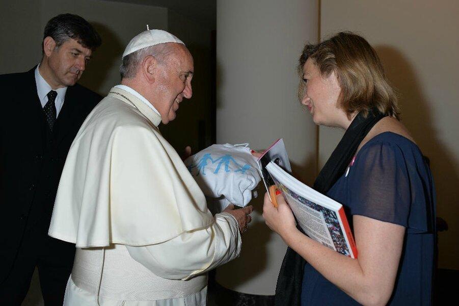 Ludovine de la Rochère reçue par le pape
