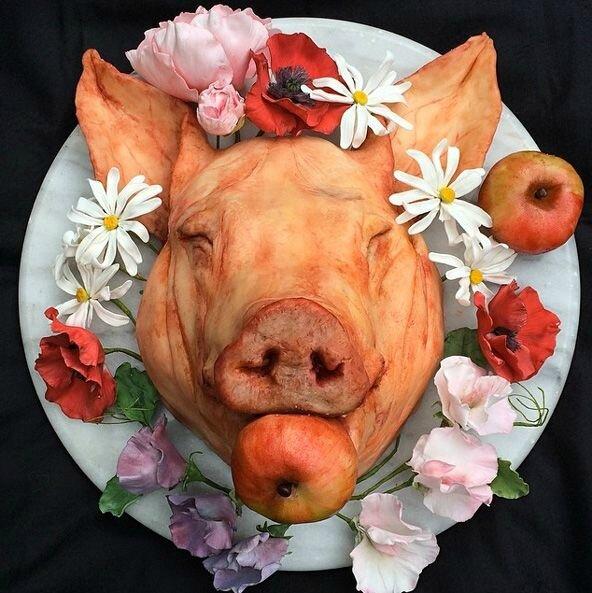 Une t te de cochon au dessert carton et chiffons - Tete de cochon a colorier ...