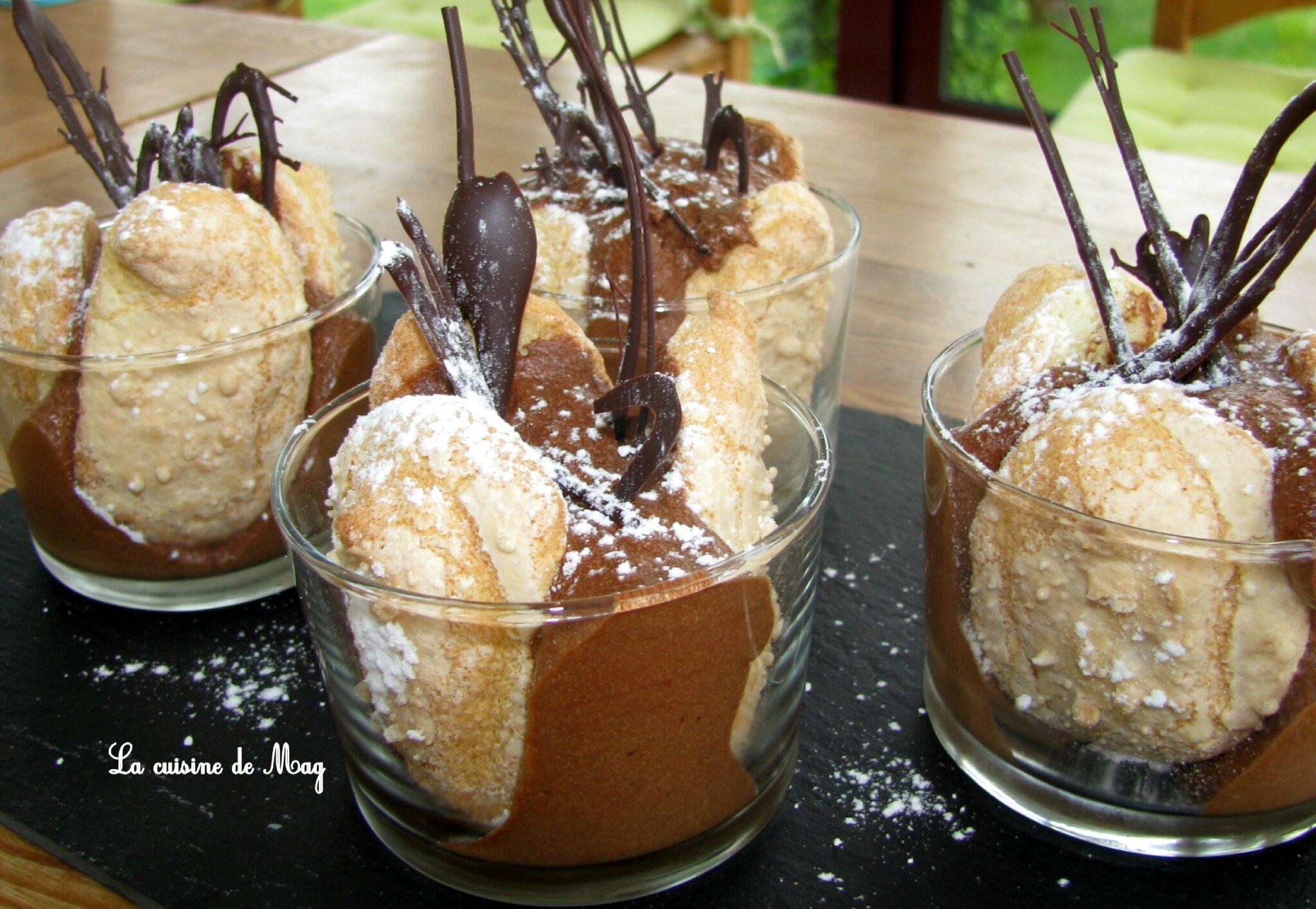 Verrines façon charlotte au chocolat et framboises