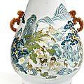 Vase aux 'cent daims' en porcelaine de la famille rose, hu, dynastie qing, xixe siècle