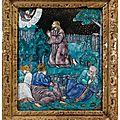 Plaque représentant le christ au jardun des oliviers. france, limoges, xvie siècle