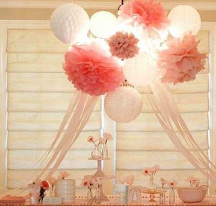 Boule PomPom fleur en papier différentes tailles