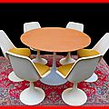 Table & chaises annees 70 style s. knoll tulipe vendu