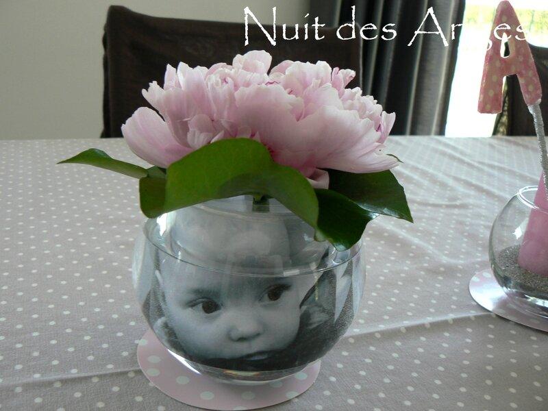 Nuit des anges décoratrice décoration de table baptême rose et gris 014