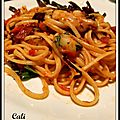 LINGUINE AUX PETITES CHOSES CONFITES, CHEVRE & BASILIC - LINGUINE CON PEQUEAS COSAS CONFITADAS, QUESO DE CABRA & ALBAHACA 