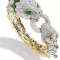 18 karat gold, platinum, diamond and emerald bracelet, david webb