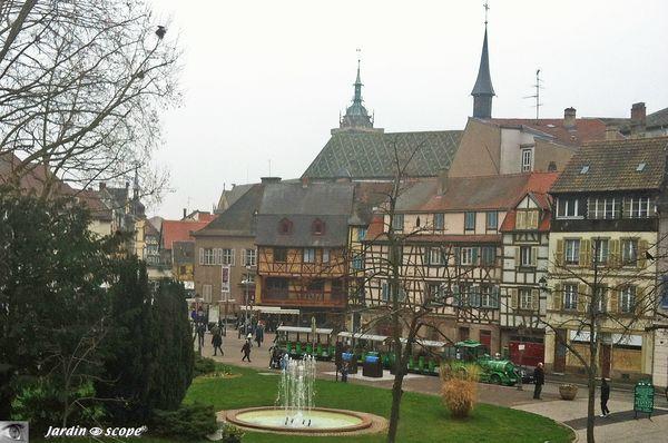 Vue de Colmar depuis une fenêtre de l'Unterlinden