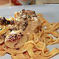 Fricassée de boudin blanc et girolles, sauce crustacés