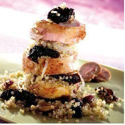 rable de lapin aux pruneaux, noisette et quinoa