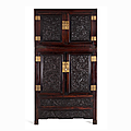 Rare hongmu wood dragon cabinet, china, qing dynasty (1644-1912)
