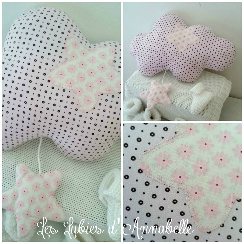 coussin doudou nuage musical fille rose