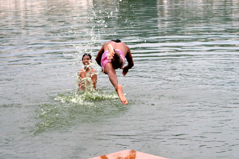 Diving in the Holy Lake