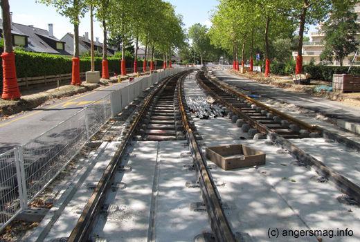 La Roseraie - Les rails sur le boulevard d'Arbrissel