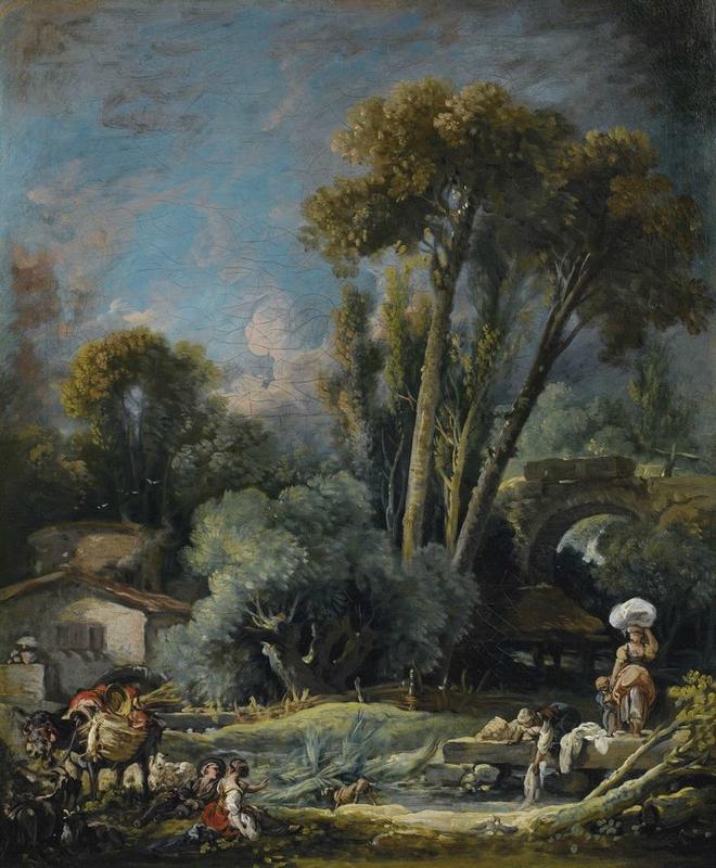 François Boucher (Paris 1703 - 1770), Pastorale champêtre avec lavandières et un couple au bord de l'eau