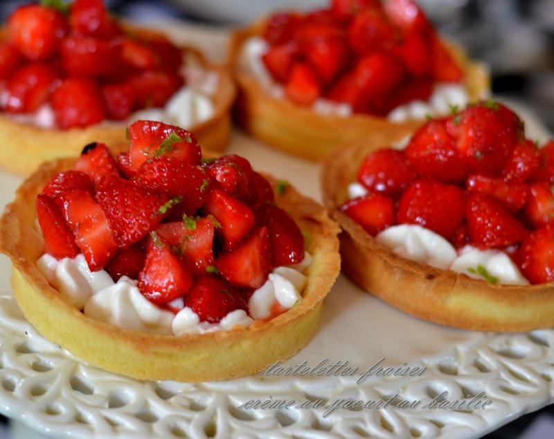 tarte fraise, crème yaourt