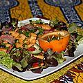 Salade composée au jambon cru fumé de la forêt noire et sa vinaigrette aux fruits de la passion