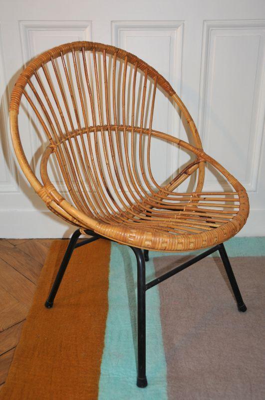 fauteuil en rotin ann es 60 solveig vintage kids. Black Bedroom Furniture Sets. Home Design Ideas