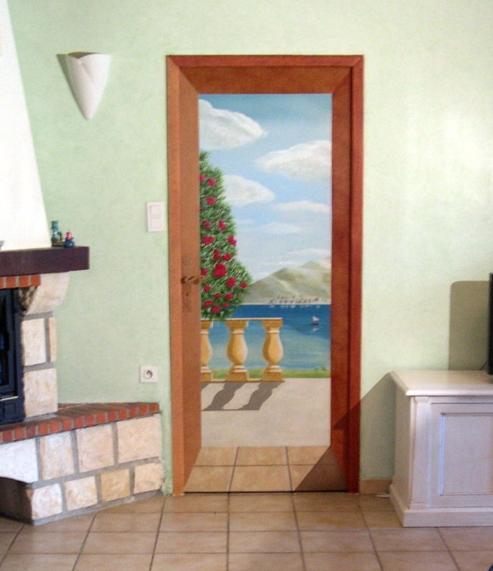 Trompe l 39 oeil sur porte photo de 003 fresques et trompe for Trompe l oeil porte placard