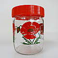 Vintage ... pot en verre style henkel 45cl * fleur coquelicot