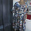 Robe RAYMONDE en coton imprimé ''belle comme un camion'' - manches raglan - longueur genoux - taille unique (14)