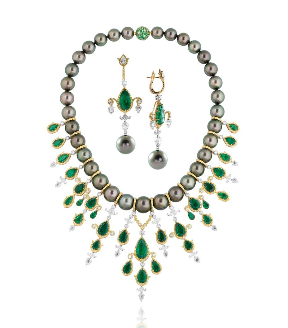Alessio Boschi's Breakfast in Jaipur Tahitian pearl, emerald and diamond necklace and earrings