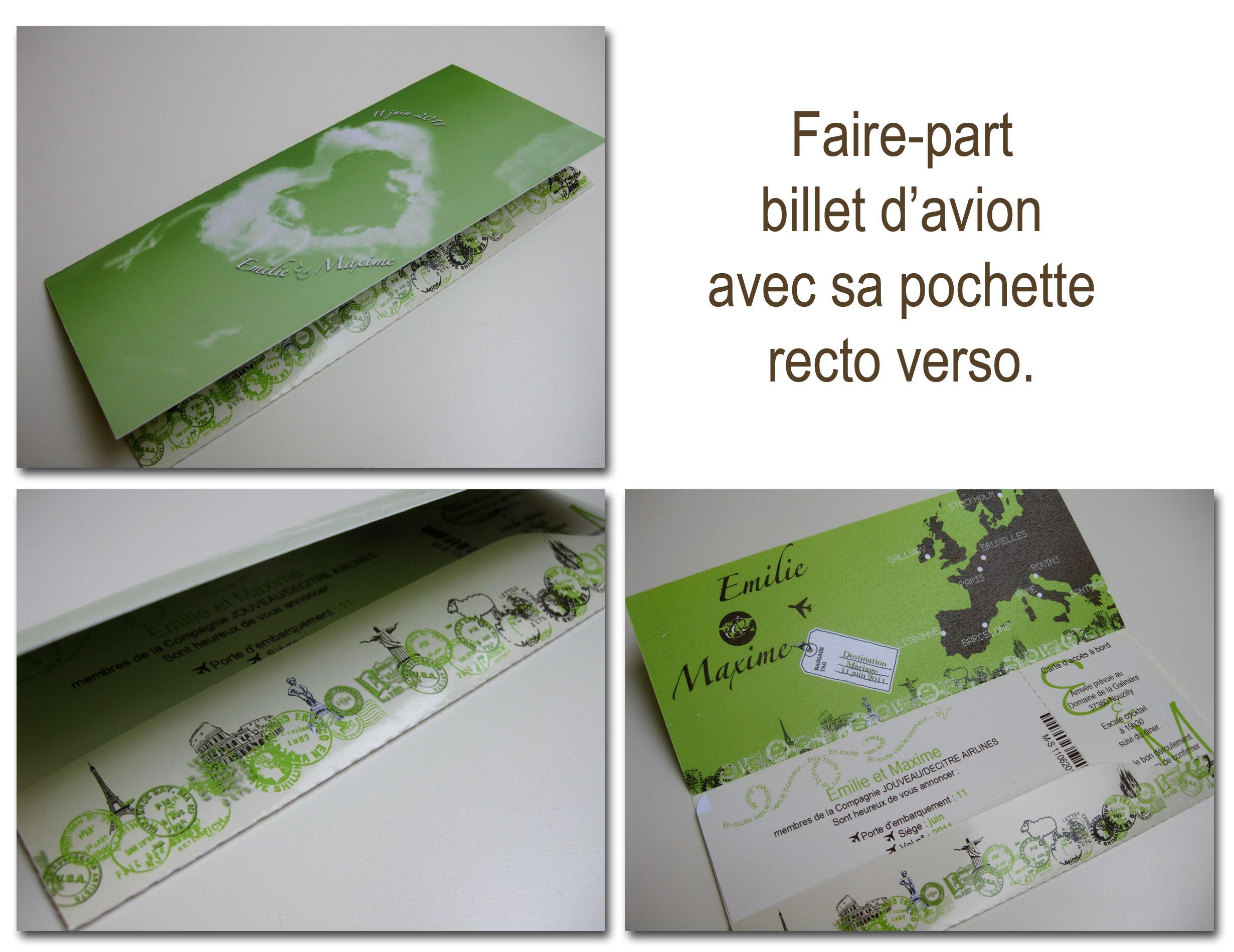 faire part billet davion vert marron et ivoire - Faire Part Mariage Billet D Avion