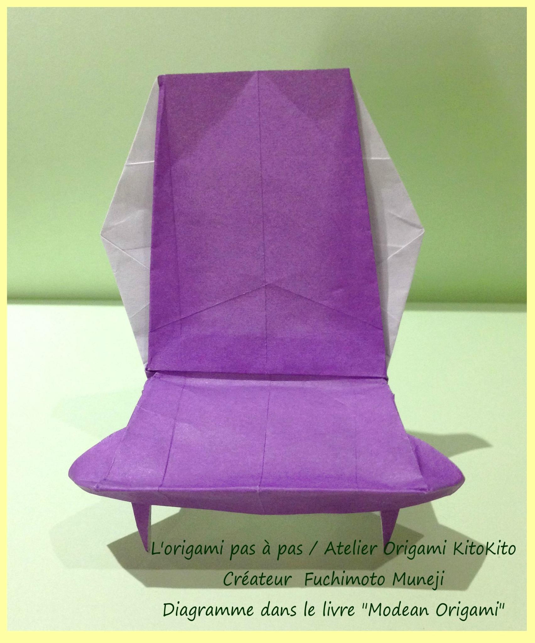 Chaise 6 l 39 origami pas pas atelier origami kitokito for Chaise origami