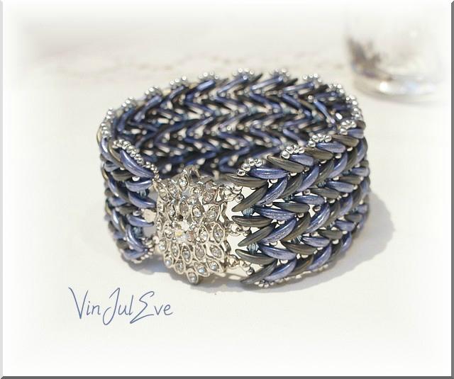 bracelet epi bleu gris 1