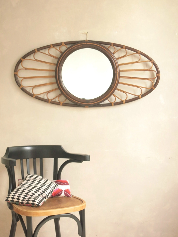 Le grand miroir en bambou et rotin commodes tables et for Mur miroir rotin