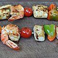 Brochettes de gambas et lamelle d'encornet aux tomates cerises et poivron