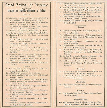 Belfort Inauguration Monument 3 Sièges 16 août 1913 Liste Musiques