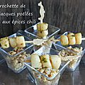 Verrine de blé au chili et mini brochette de st-jacques