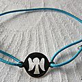 Bracelet pastille Ange sur fil élastique (turquoise)