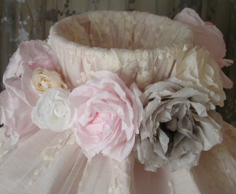 abat jour cloche aux roses perle de lumi res cr ation d 39 abat jour et d coration shabby chic. Black Bedroom Furniture Sets. Home Design Ideas