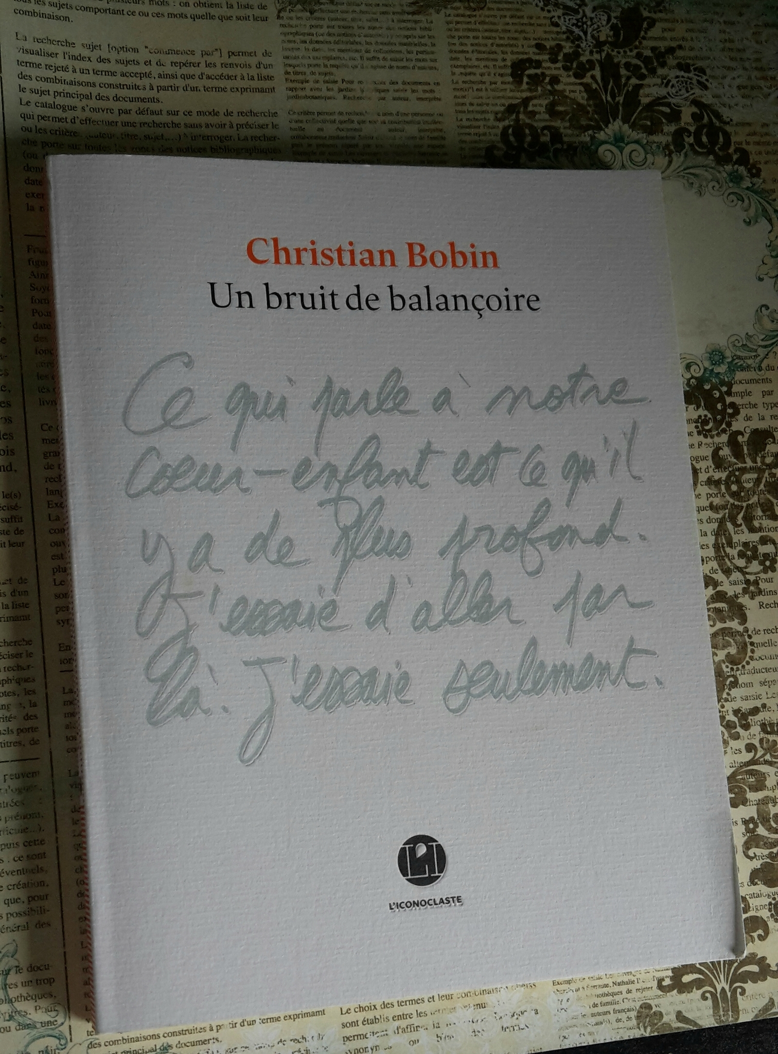 « Un bruit de balançoire » de Christian Bobin