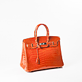 Hermes paris made in france année 2005. exceptionnel sac birkin 35cm en crocodile niloticus orange