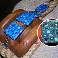 Bracelet Fimo plaques carrées tons bleu (N)