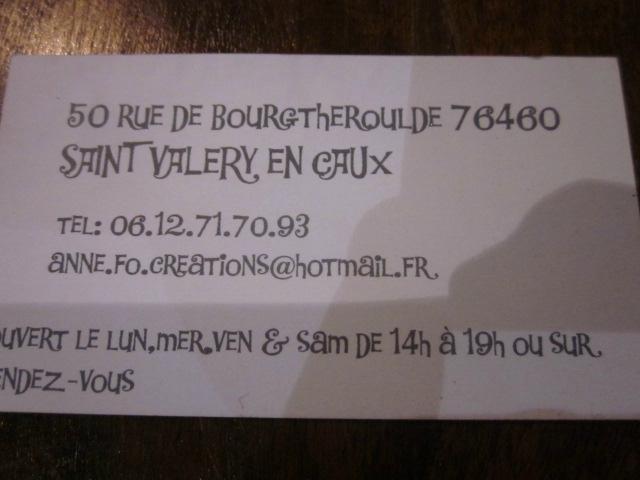 2015 - octobre - 30 (et 1er novembre) - Salon de la Création de Honfleur - Stand ANNE FO Création (1)