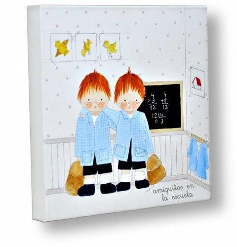 Un cuadro infantil personalizado amiguitos en la escuela - Cuadros artesanales infantiles ...